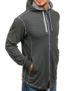 Bluza męska z kapturem rozpinana grafitowa Denley 0363