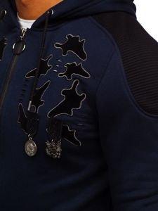 Bluza męska z kapturem rozpinana granatowa Denley GK32