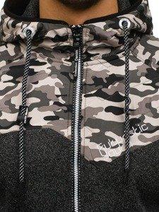 Bluza męska z kapturem rozpinana moro-czarna Denley HH502