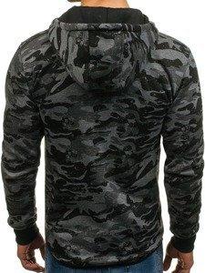 Bluza męska z kapturem rozpinana moro-grafitowa Denley DD99