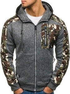 Bluza męska z kapturem rozpinana moro-grafitowa Denley HH508