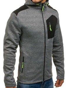 Bluza męska z kapturem rozpinana szara Denley W2919