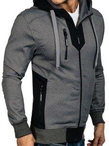 Bluza męska z kapturem szaro-czarna Denley 3639