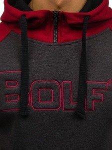 Bluza męska z kapturem z nadrukiem antracytowa Bolf 77