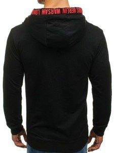 Bluza męska z kapturem z nadrukiem czarna Denley 0903