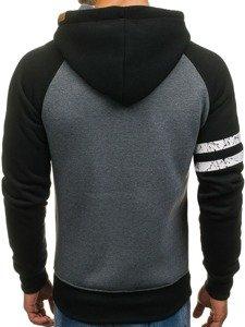 Bluza męska z kapturem z nadrukiem czarno-antracytowa Denley 3643A