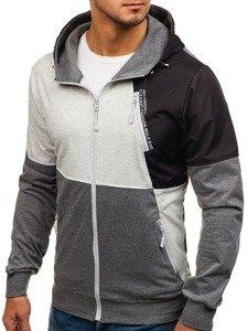 Bluza męska z kapturem z nadrukiem czarno-grafitowa Denley 1111