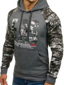 Bluza męska z kapturem z nadrukiem grafitowa Denley DD47