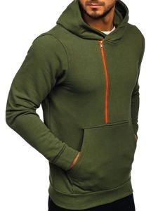 Bluza męska z kapturem z nadrukiem khaki Bolf 01