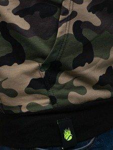 Bluza męska z kapturem z nadrukiem moro-zielona Denley 1223