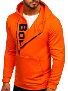 Bluza męska z kapturem z nadrukiem pomarańczowa Bolf 01