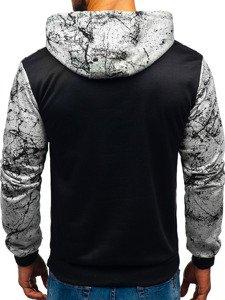 Bluza męska z kapturem z nadrukiem szara Denley 11066