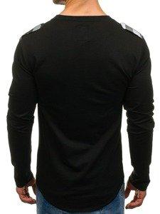Bluza męska z nadrukiem czarna Denley 0757