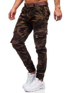 Brązowe spodnie joggery bojówki moro męskie z paskiem Denley CT6013