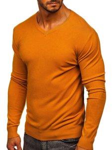Camelowy sweter męski w serek Denley YY03