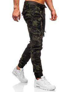 Ciemnozielone spodnie joggery bojówki moro męskie z paskiem Denley CT6013