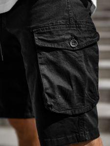 Czarne krótkie spodenki bojówki męskie Denley 5011