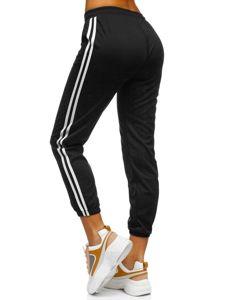 Czarne spodnie dresowe damskie Denley YW01020D