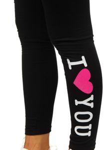 Czarno-różowe legginsy damskie z nadrukiem Denley 82327
