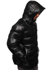 Czarno-szara pikowana kurtka męska zimowa Denley 6461