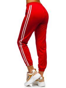 Czerwone spodnie dresowe damskie Denley YW01020D