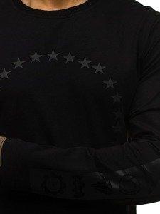 Długa bluza męska bez kaptura z nadrukiem czarna Denley 0905