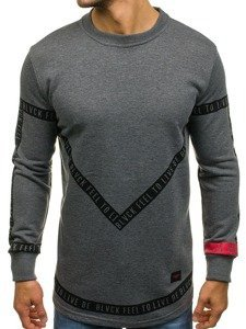 Długa bluza męska bez kaptura z nadrukiem grafitowa Denley 171545