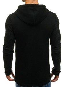 Długa bluza męska z kapturem rozpinana czarna Denley 171587
