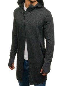 Długa bluza męska z kapturem rozpinana grafitowa Denley 0932