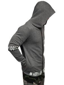 Długa bluza męska z kapturem rozpinana grafitowa Denley 171407