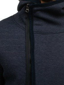 Długa bluza męska z kapturem rozpinana granatowa Denley 546