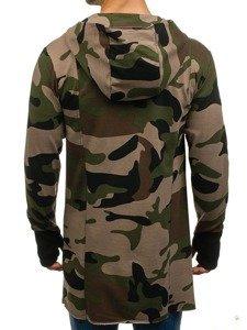 Długa bluza męska z kapturem rozpinana moro-zielona Denley 0932