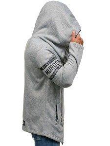 Długa bluza męska z kapturem szara Denley Y36-3