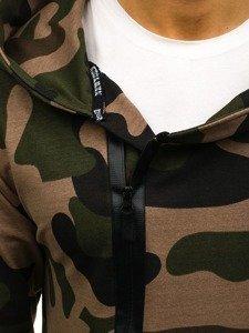 Długa bluza męska z kapturem z nadrukiem zielona Denley 0913