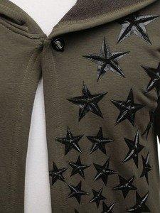 Długa bluza męska z kapturem z nadrukiem zielona Denley 171374