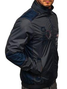 Grafitowa kurtka męska przejściowa Denley 743