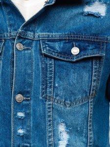 Granatowa jeansowa kurtka męska Denley AK588