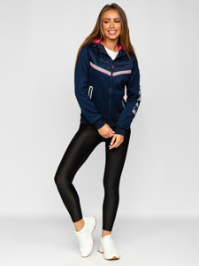 Granatowa pikowana kurtka damska przejściowa z kapturem Denley KSW4012