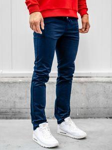 Granatowe bawełniane spodnie męskie Denley KA8878