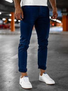 Granatowe spodnie chinosy męskie Denley 1146