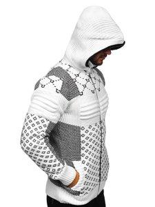 Gruby biały rozpinany sweter męski z kapturem kurtka Denley 2060