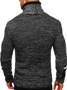 Gruby czarny sweter męski ze stójką Denley 2001