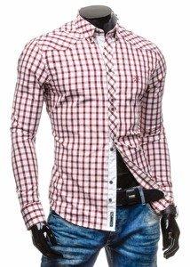 Koszula męska elegancka w kratę z długim rękawem bordowa Bolf 5812