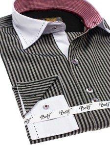 Koszula męska elegancka w paski z długim rękawem czarna Bolf 4784-A