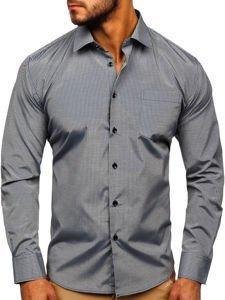 Koszula męska elegancka w paski z długim rękawem szara Denley NDT10