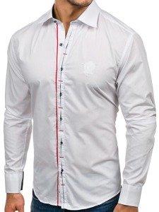 Koszula męska elegancka z długim rękawem biała Bolf 1769