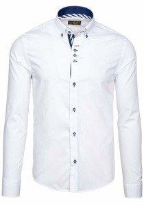 Koszula męska elegancka z długim rękawem biała Bolf 5796