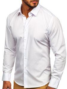 Koszula męska elegancka z długim rękawem biała Denley 0001