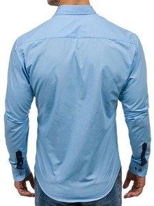 Koszula męska elegancka z długim rękawem błękitna Bolf 5811