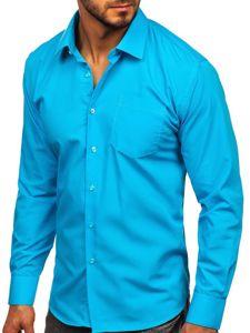 Koszula męska elegancka z długim rękawem błękitna Denley 0003